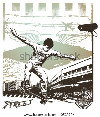 skate jump with grunge city background - stock vector