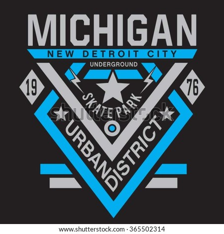 Skate park Michigan typography, t-shirt graphics, vectors - stock vector