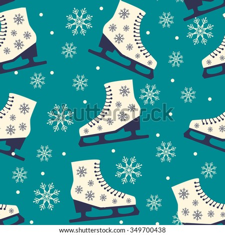 Skate. Seamless Christmas pattern on blue background. Vector illustration
