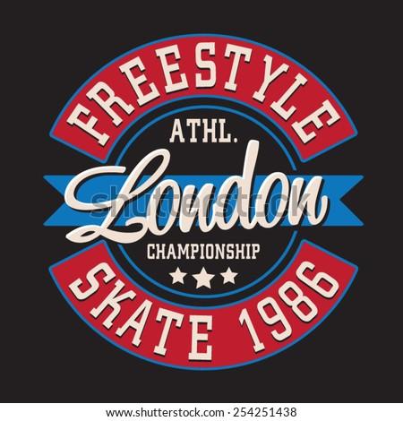 Skate sport London typography, t-shirt graphics, vectors - stock vector