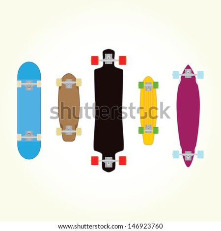 Skateboard and long board shapes isolated vector - stock vector