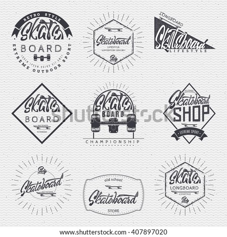Skateboard, badge for your design, skateboard words for printing and labels. - stock vector