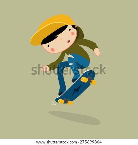 skateboard boy jumping. vector character - stock vector