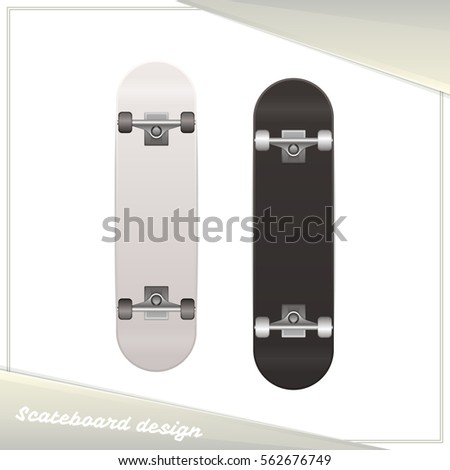 skateboard design dark and light on white background you can use as a template