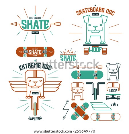 Skateboard dog emblems and icons. Graphic design for t-shirt. Color print on white background - stock vector