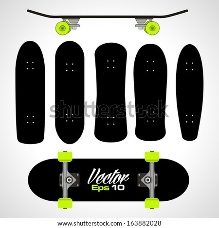 skateboard equipment silhouette set in vector format - stock vector