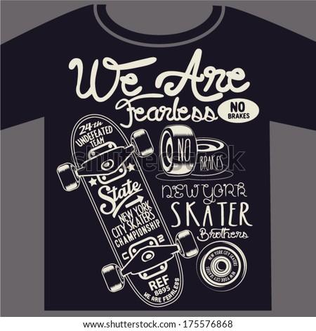 skateboard graphic design for t-shirt - stock vector
