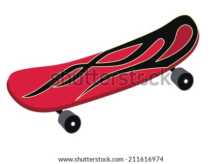 skateboard isolated on white background (vector illustration) - stock vector