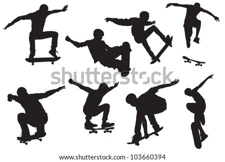 skateboard jump - stock vector