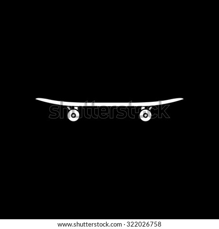 Skateboard. Simple flat icon. Black and white. Vector illustration - stock vector