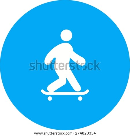 Skateboard, skateboarder, skating, sports icon vector image. Can also be used for fitness, recreation. Suitable for web apps, mobile apps and print media. - stock vector
