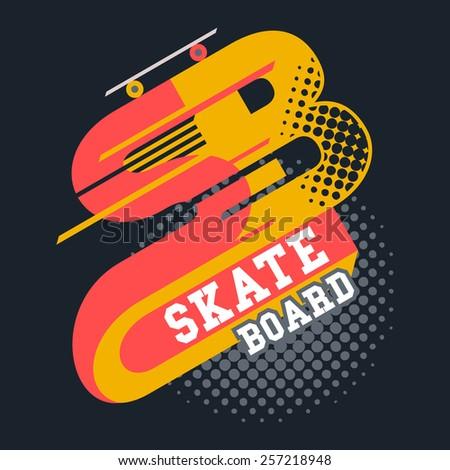 Skateboard t-shirt typographic label design  - stock vector