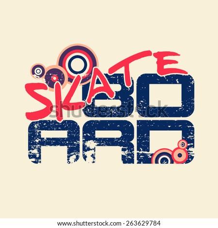 Skateboard typography emblem for rider shirt. Vector graphic design - stock vector