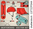 Skateboard Vector Set - stock vector