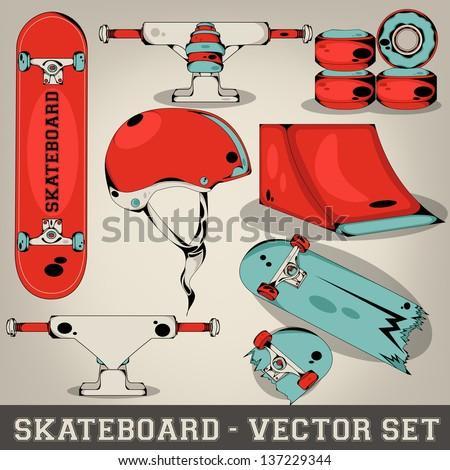 Skateboard Vector Set - stock vector
