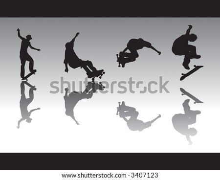 Skateboard vector silhouettes performing different tricks. Two skaters grinding, one kickflipping and the other grabbing. - stock vector