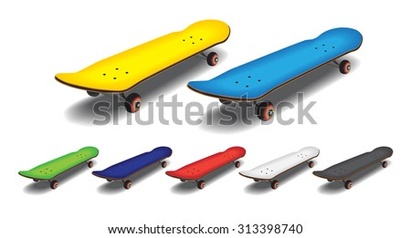 Skateboard with white background