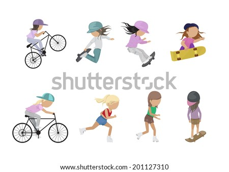 Skateboarder, Cyclist And Roller Skating Girl - Isolated On White Background - Vector Illustration, Graphic Design Editable For Your Design  - stock vector