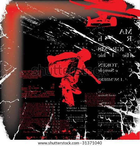 skateboarder grunge vector illustration - stock vector