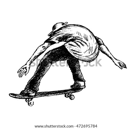 skateboarder vector sketch