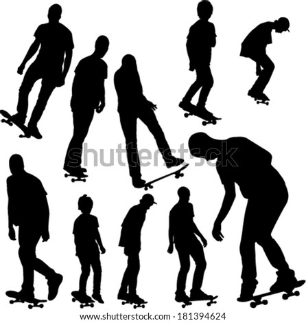 skateboarders collection silhouettes - stock vector