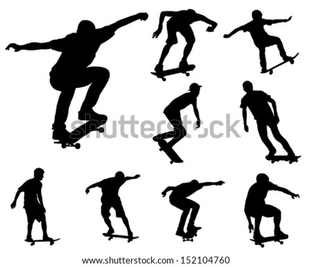 skateboarders silhouettes collection - stock vector