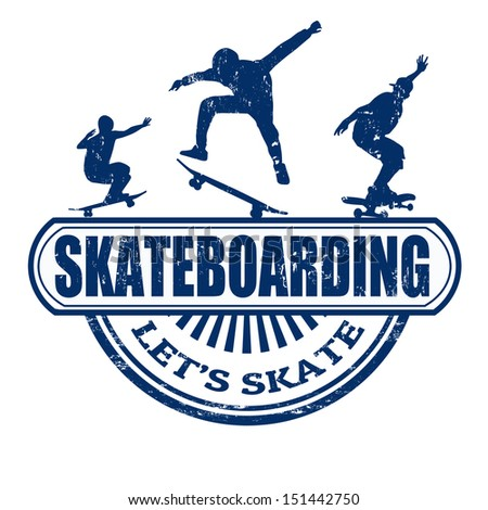 Skateboarding grunge rubber stamp on white background, vector illustration - stock vector