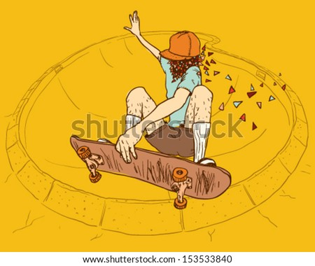 Skateboarding pool jump - stock vector
