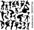 skateboarding set - stock vector