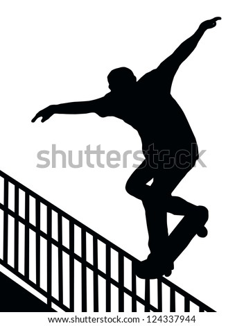 Skateboarding Skater do Nosegrind Rail Slide with Board Silhouette - stock vector
