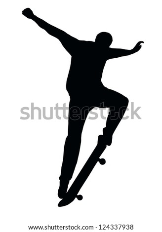 Skateboarding Skater do Nosegrind with Board Silhouette - stock vector
