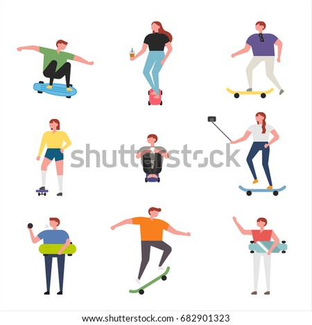 skater boy and girl playing vector illustration flat design