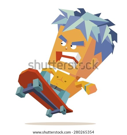 skater boy isolated.vector illustration - stock vector