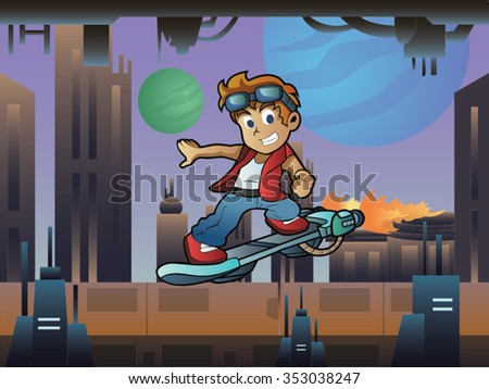 Skater Boy on Hoverboard In Futuristic City with Buildings and Green Blue Moon Cartoon Vector