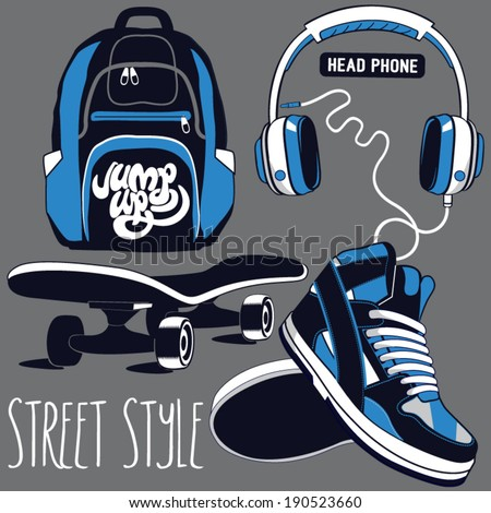 skater equipment  set - stock vector
