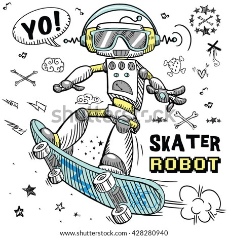 skater robot character design tee graphic - stock vector