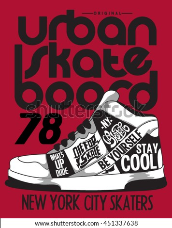 skater, sneakers graphic design for tee - stock vector