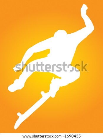 Skater vector silhouette kickflipping or more like kung-fu kick flipping. - stock vector