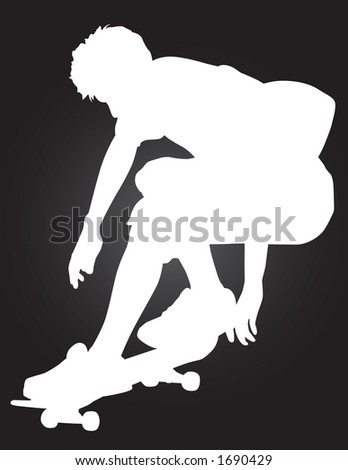 Skater vector silhouette ollie'ing over a skate pyramid. - stock vector