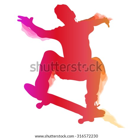 Skaterboarder performing a trick. Vector illustration. - stock vector