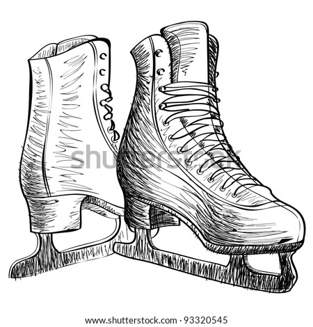 Skates ice cartoon sketch vector illustration - stock vector