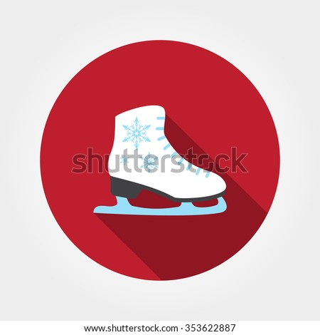 Skates. Icon for web and mobile application. Vector illustration on a button with a long shadow. Flat design style.