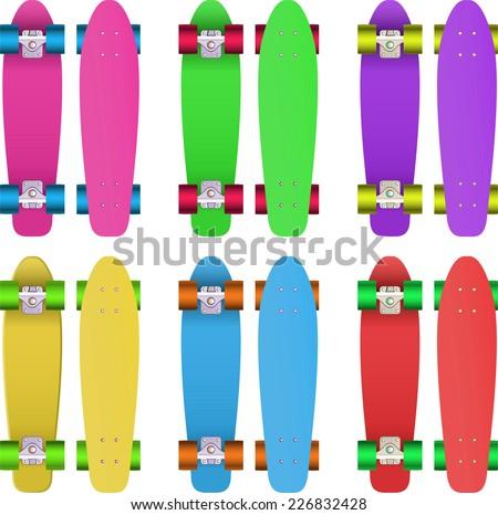 Skates set, with Pink skate, green skate, violet skate, yellow skate, blue skate and red skate vector illustration. - stock vector