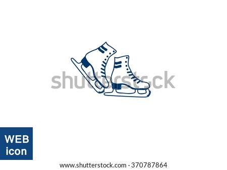 skates, web icon. vector design - stock vector