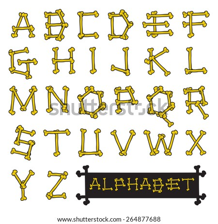 Skeleton bones alphabet vector illustration - stock vector