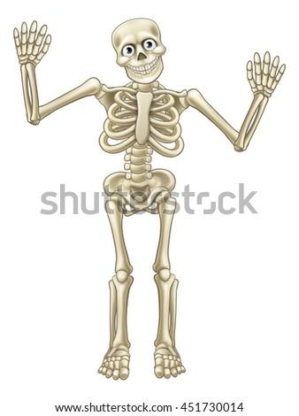 Skeleton cartoon character or Halloween monster waving his hands or dancing - stock vector