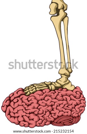 Skeleton foot stepping on brain vector, vertical,  isolated  - stock vector
