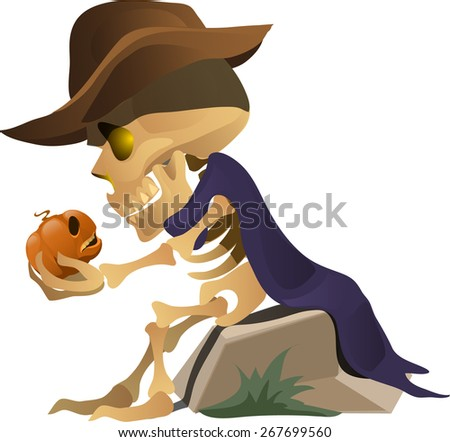 skeleton in a hat sits on a rock and talks with pumpkin  - stock vector