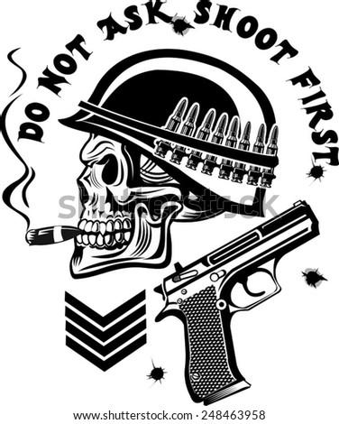 Skeleton in helmet with guns cartridges and pistols - stock vector