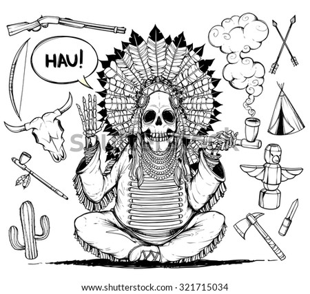 Skeleton Indians chieftain. And set objects related to Indians. Black and white.